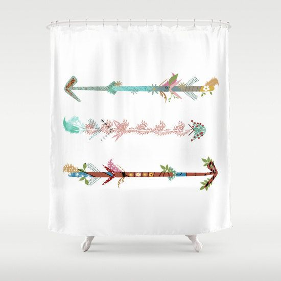 Arrows Shower Curtain White Rustic Personalized Woodland