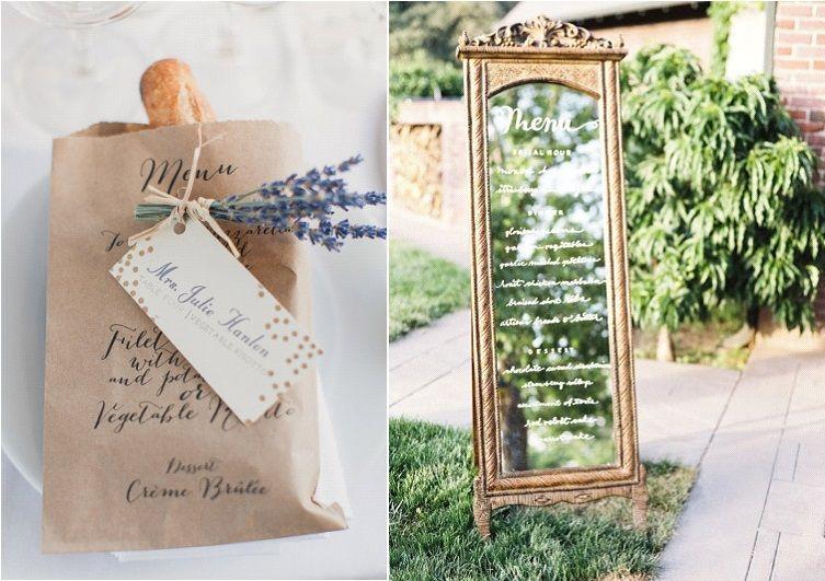 Idee de menu mariage original