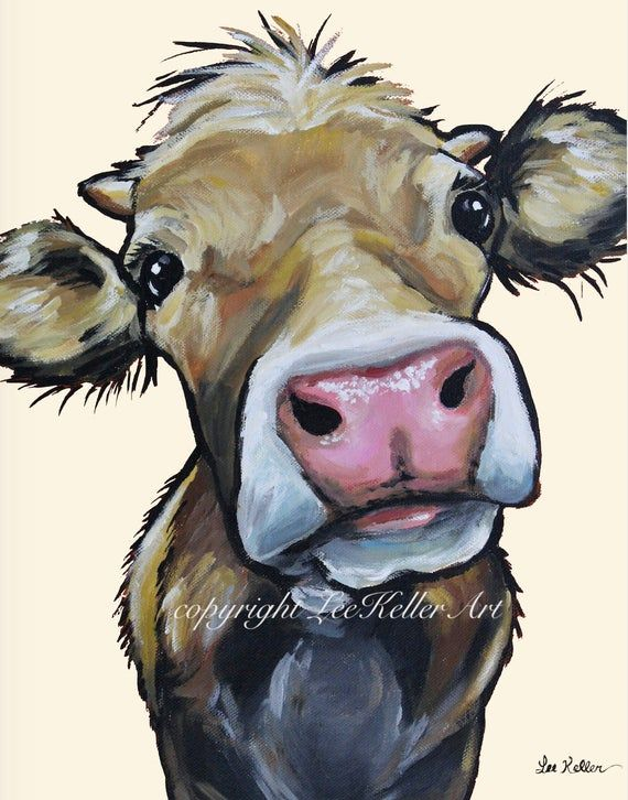 Cow art print from original canvas cow painting. C