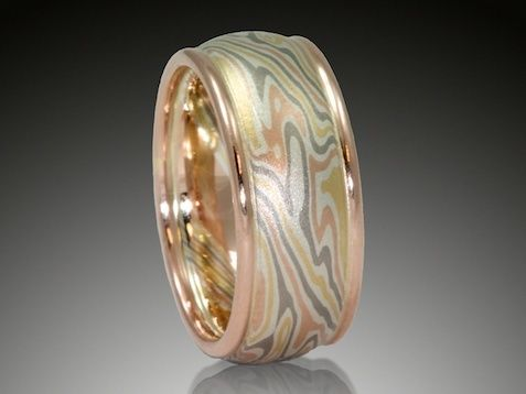 Unique Wedding Rings In Mokume Mens And Womens Made With Yellow Gold Palladium White Red Platinum