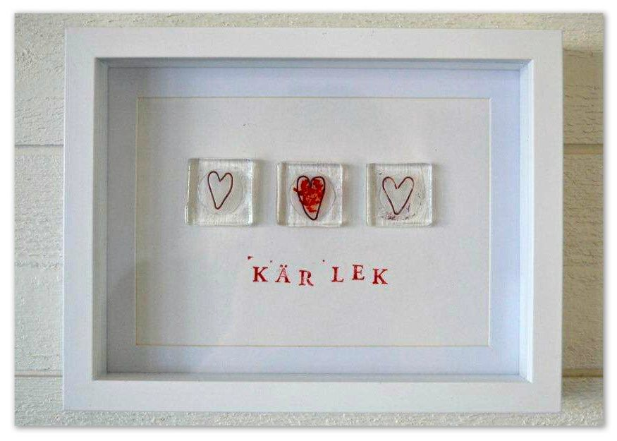 Frame with fused glass - LOVE