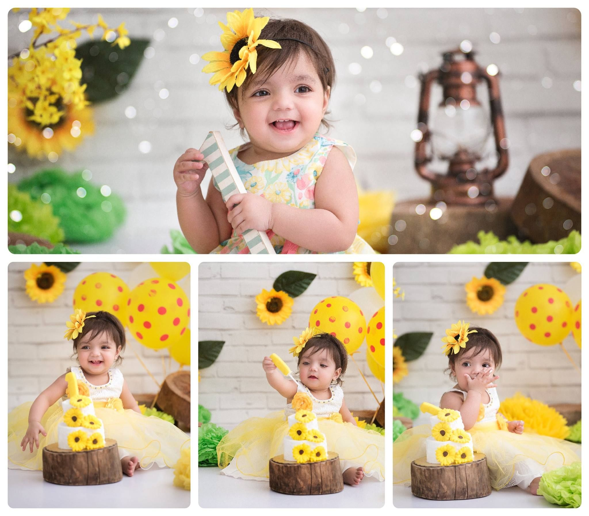 Sunflower theme cake smash first birthday shoot cake smash photography yellow cake sunflower cake shipra amit chhabra photography