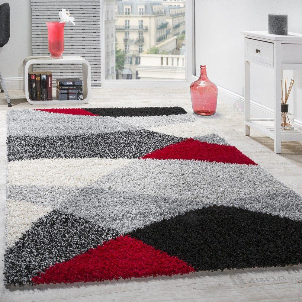 Teppich Hochflor Shaggy Geometrisch Gemustert Grau Rot Projects To Try Tapis