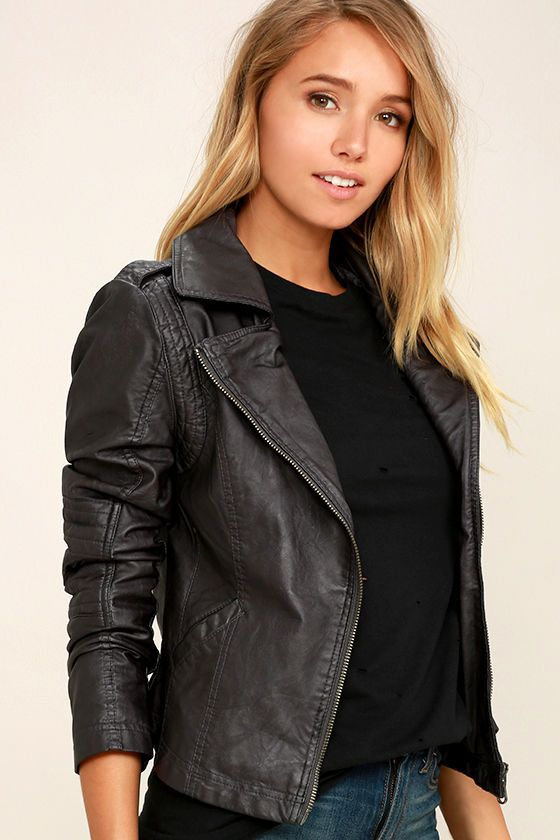d470a78b2b5a Our Black Swan Bella Washed Black Vegan Leather Moto Jacket sure is a  beaut! Bundle up in this easy-to-wear vegan leather jacket with cool moto  accents like ...