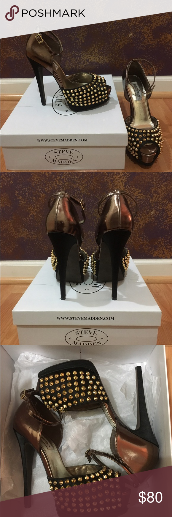 """Steve Madden Black and Gold Studded Peep Toe Heels Beautiful black and gold studded heels by Steve Madden.  Straps around the ankle.  Only worn a few times.  Size 8.  Heel is 6"""" with a 2"""" platform (so feels 4"""") Comes with box. Steve Madden Shoes Heels"""