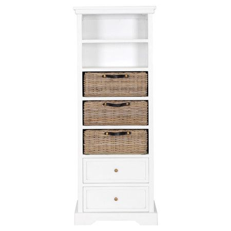 White Bookcase With Two Open Shelves Two Drawers And