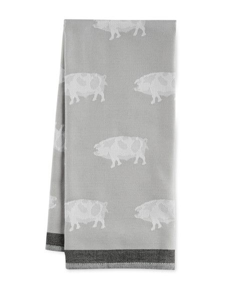 Delightful Jacquard Animal Towel, Pig, Grey