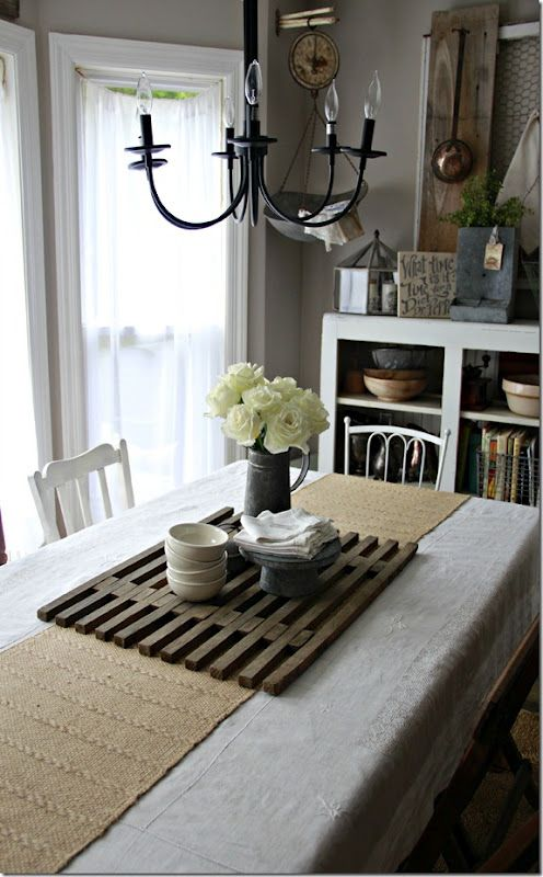 Upcycled wood table runner have seen those before but for Modern dining room table centerpiece ideas