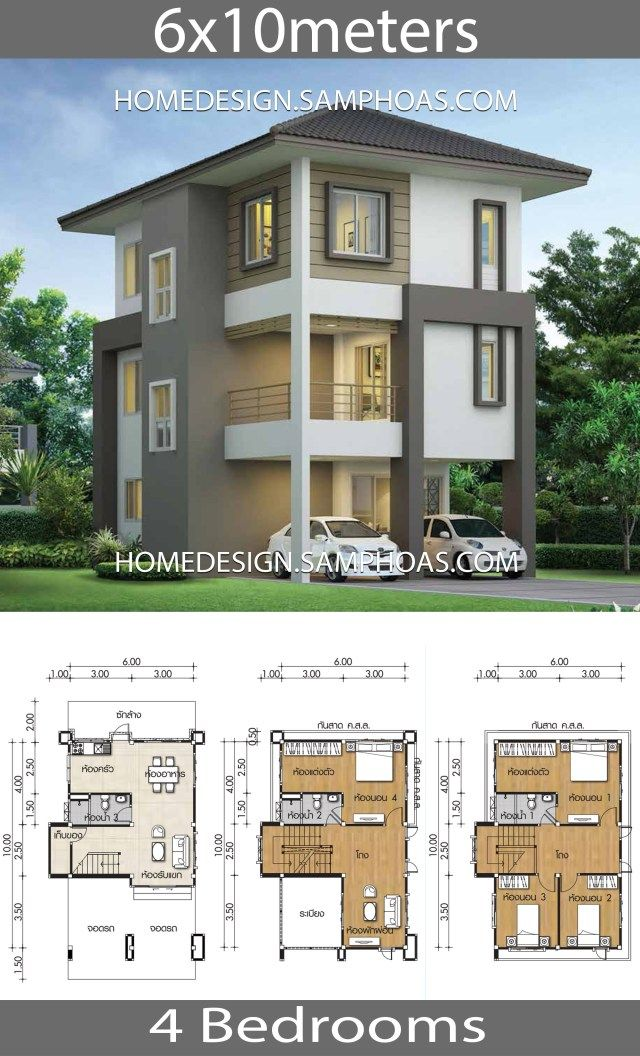 Home Design Plans 6x10m With 4 Bedrooms Home Ideassearch Affordable House Plans Home Building Design Duplex House Design