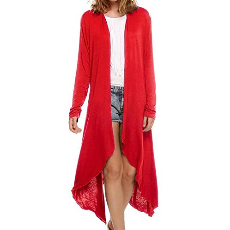Womenus open front irregular hem long sleeve maxi knit cardigan