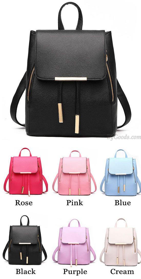 3ddb176412 Elegant Pink Funky Lady Solid Simple Square PU Drawstring Hasp Satchel  Backpack  backpack  school  elegant  cute  college