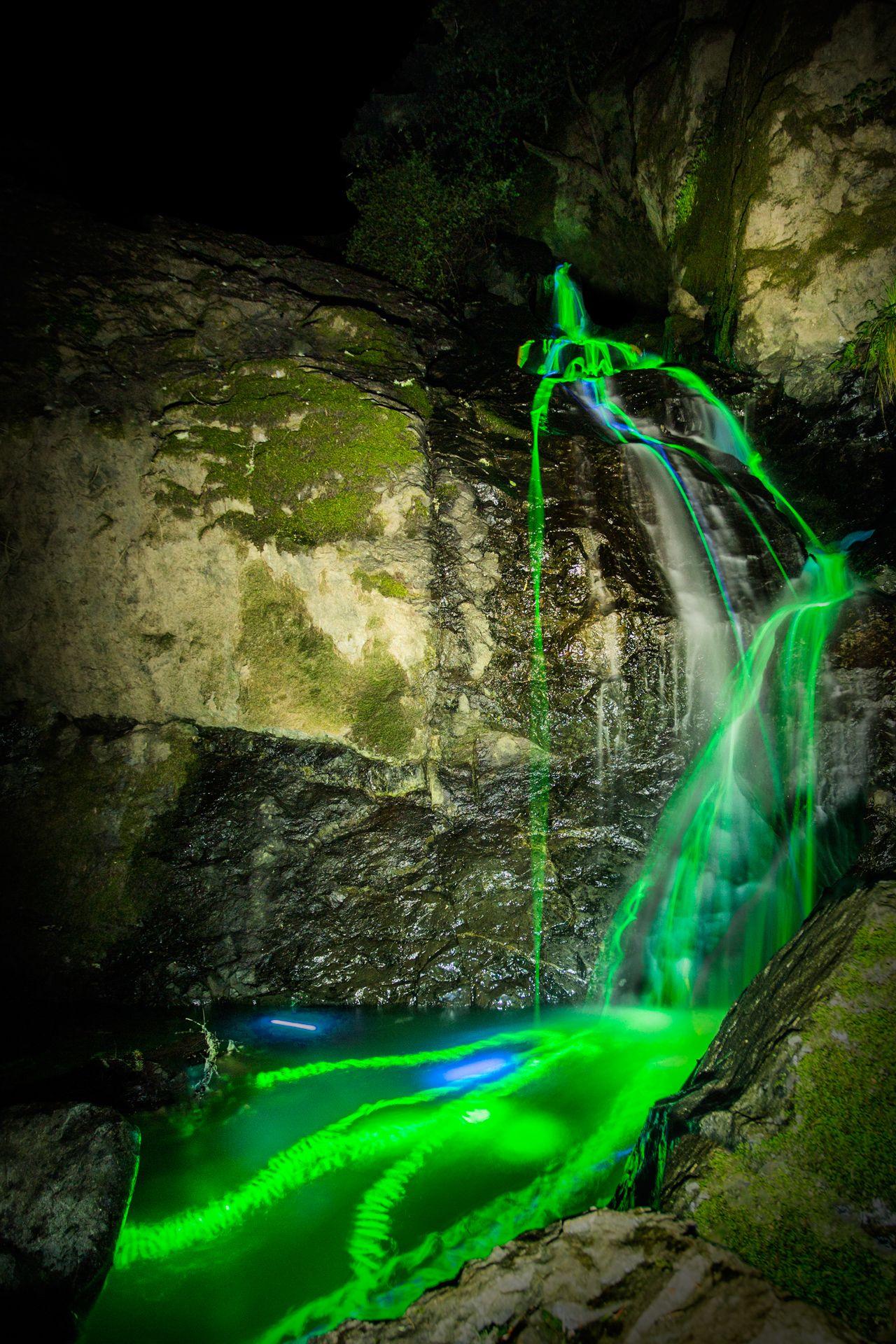 Artists Use Glow Sticks And Long Exposure Photography T Waterfall Glow Sticks Scenic Waterfall