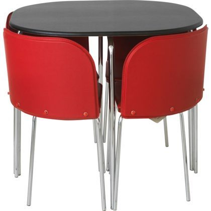 Hygena Amparo Black Dining Table And 4 Red Chairs At Homebase