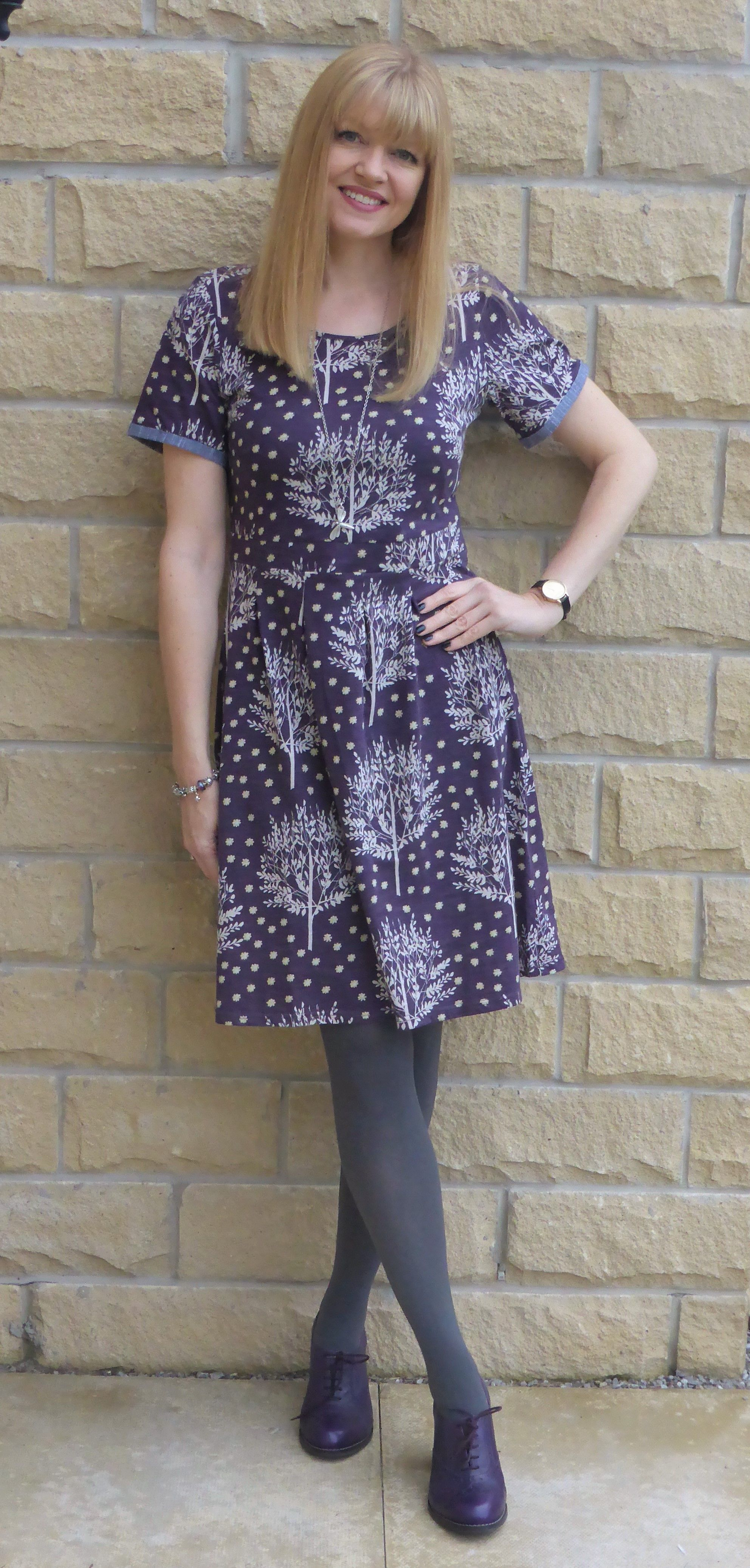 Fashion look from january 2016 featuring pink opaque tights round - Purple Heeled Brogues With Opaque Tights And A Floral Dress
