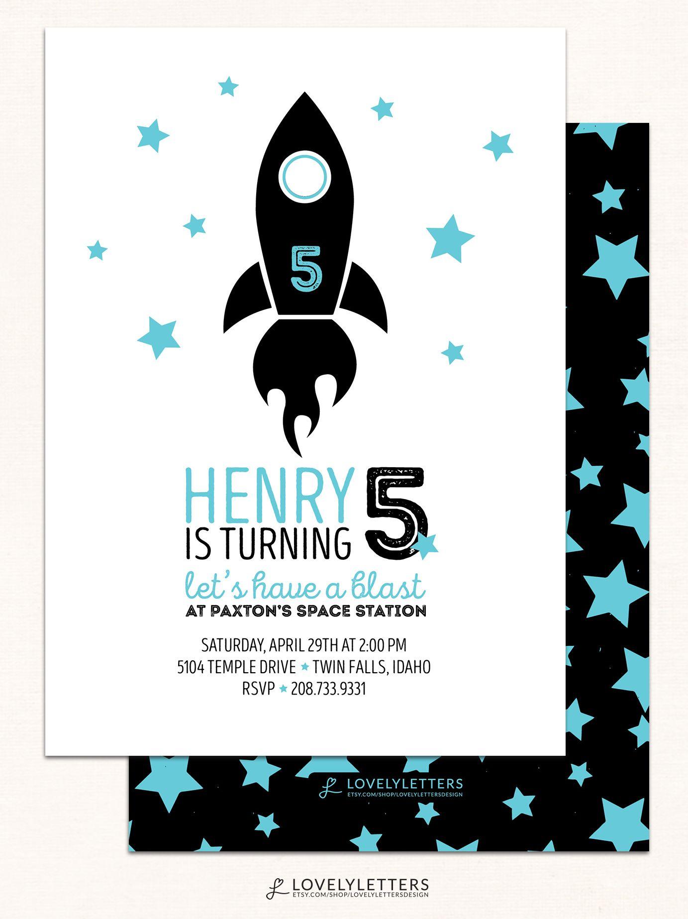 Rocket Invitation / Rocket Birthday Invitation / Modern Boy Birthday ...