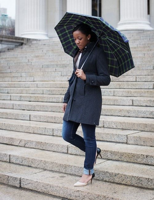 bow tie and umbrella (and I can appreciate how difficult it is to wear heels at Columbia!)