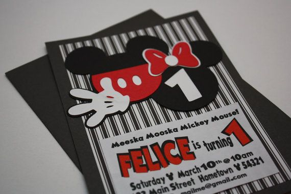 Handmade MICKEY Mouse Inspired HAPPY BIRTHDAY Party Invitations – Handmade Mickey Mouse Birthday Invitations