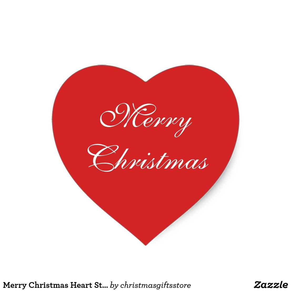 Merry Christmas Heart Sticker | Christmas Red and White Wrapping ...