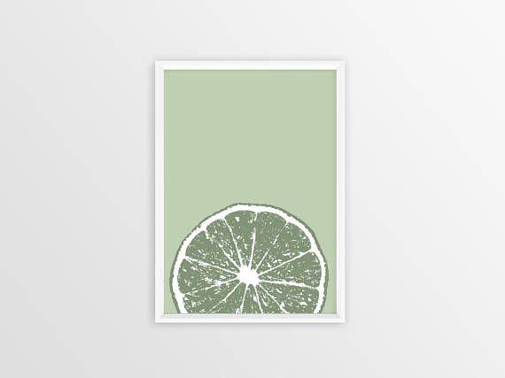 lime print, lime green decor, citrus kitchen print, fruit kitchen