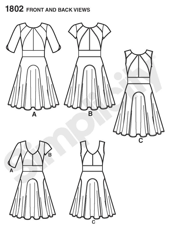 Simplicity 1802 - Pique, sateen, charmeuse, challis, crepe back satin, crepe de chine, silk linen, brocade, satin, linen & linen blends, taffeta, double georgette   (plus lining for bodice & sleeves & skirt if needed)