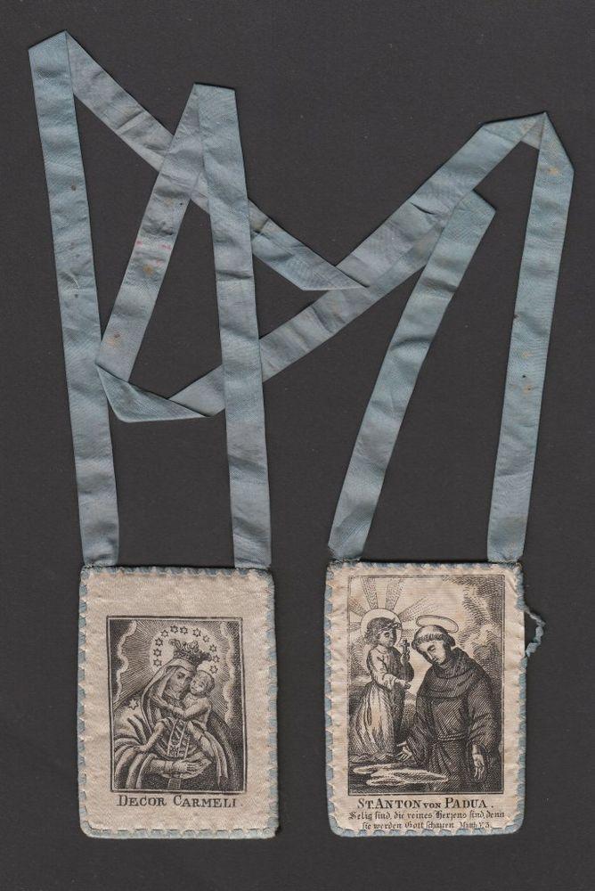 Skapulier Breverl Klosterarbeit Decor Carmeli Madonna Carmel 19.Jh. SCAPULAR