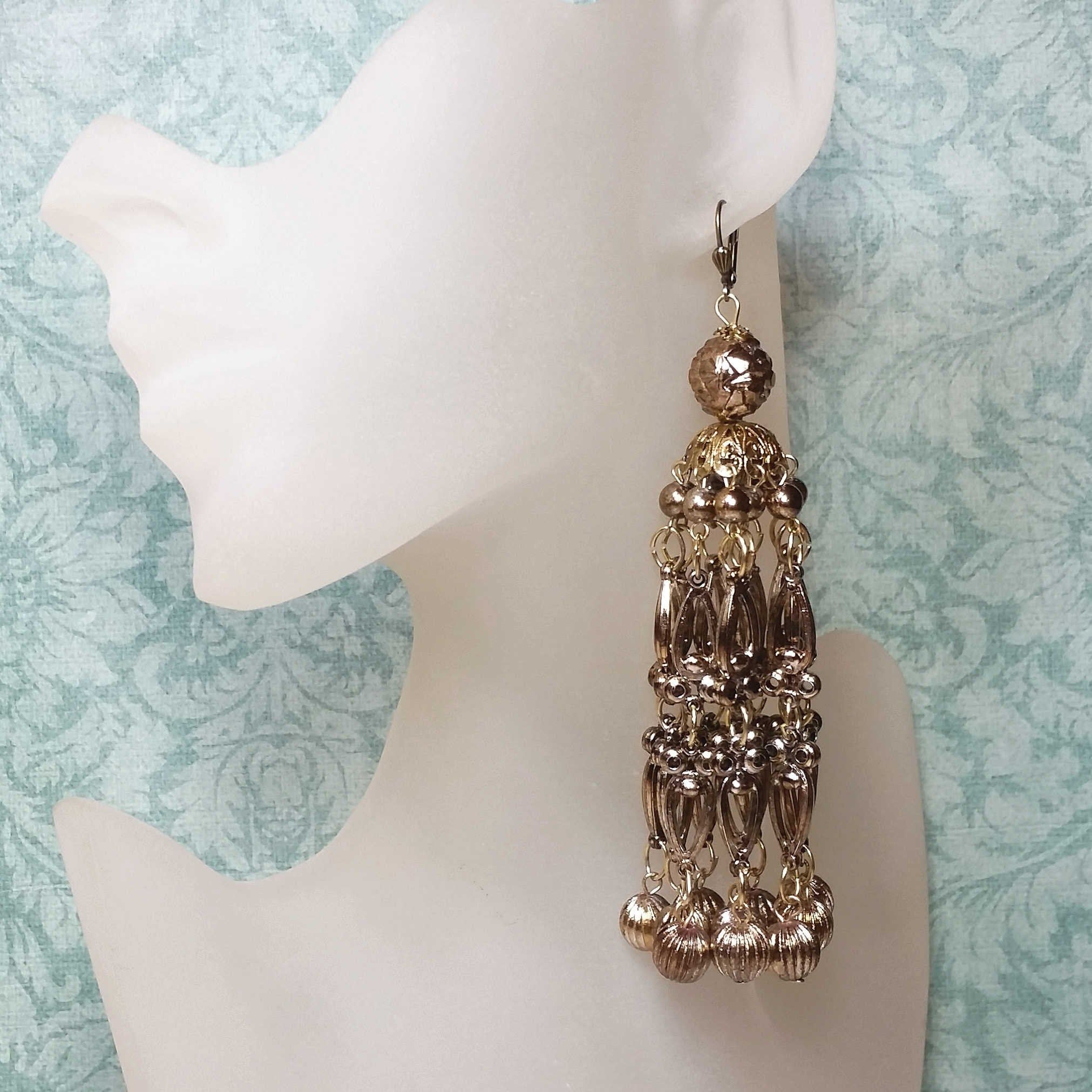 Vintage Glass Crystals earrings  Chandelier  Bohemian Style.