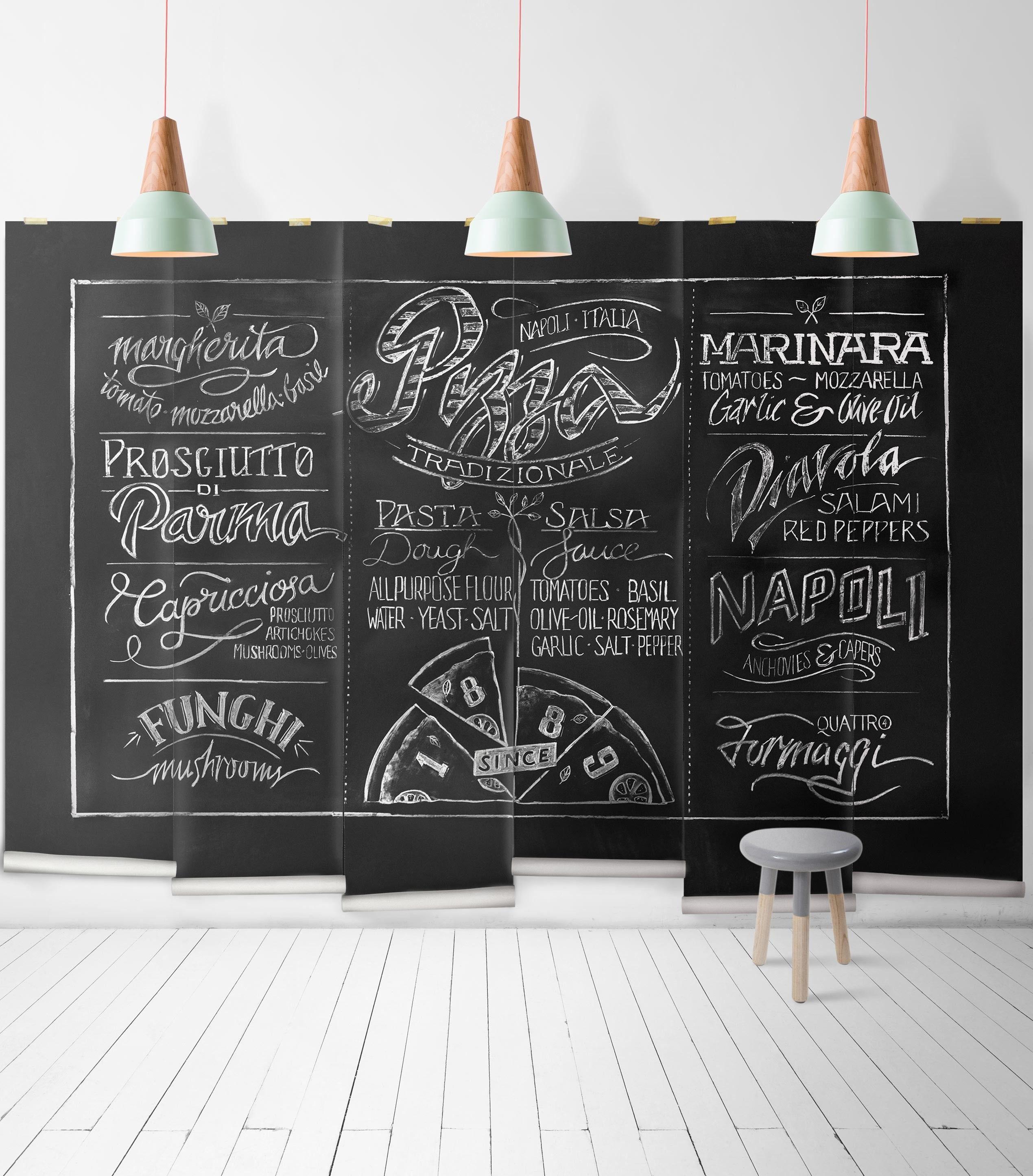 Chalkboard Pizza Mural Wallpaper Ideal 4 Kitchen Mural