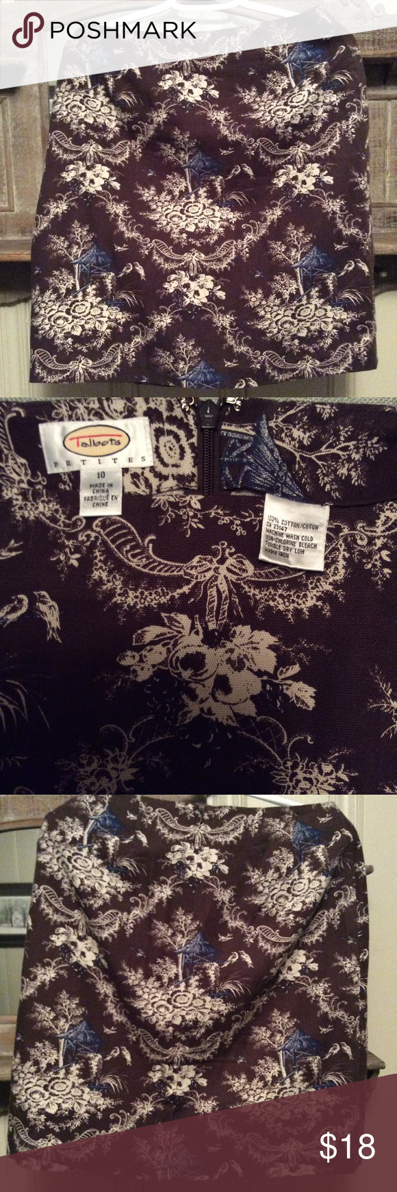 ❗️SALE❗️Cute Talbots Skirt Size 10 Petites 100 % Cotton Size 10 Petites Zipper back Talbots Skirts
