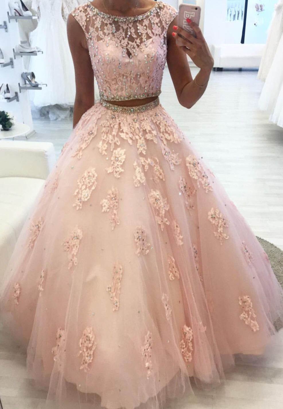 Blush Pink Lace Ball Gowns Quinceanera Dresses Two Piece Slayingdress Sweet 15 Dresses Quinceanera Dresses Blush Pretty Quinceanera Dresses [ 1423 x 987 Pixel ]