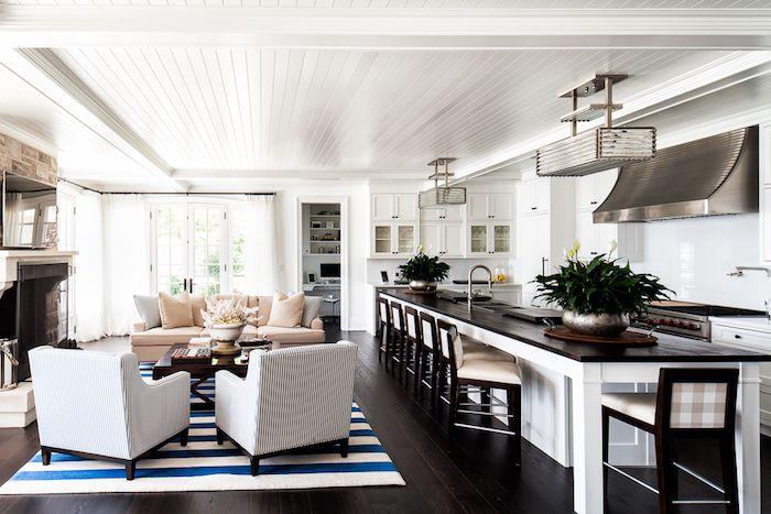 ▷ 1001 + conseils et idées pour aménager un salon blanc et beige - image cuisine ouverte sur salon
