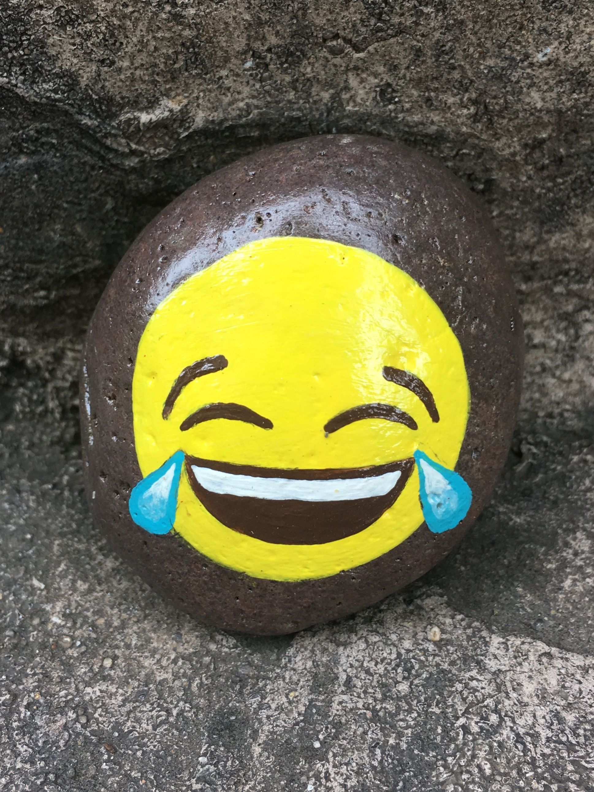 Painted Emoji Rock By Christa Keeler