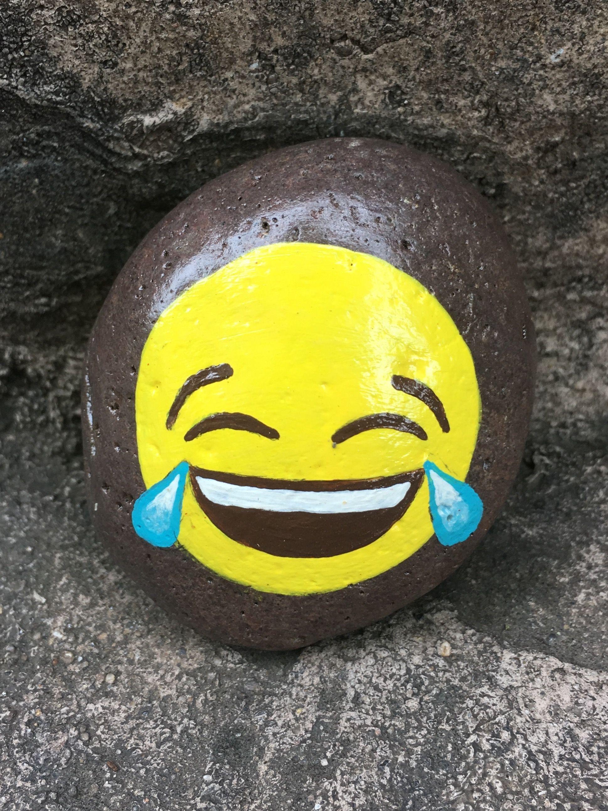 Painted emoji rock by Christa Keeler Painted rocks kids