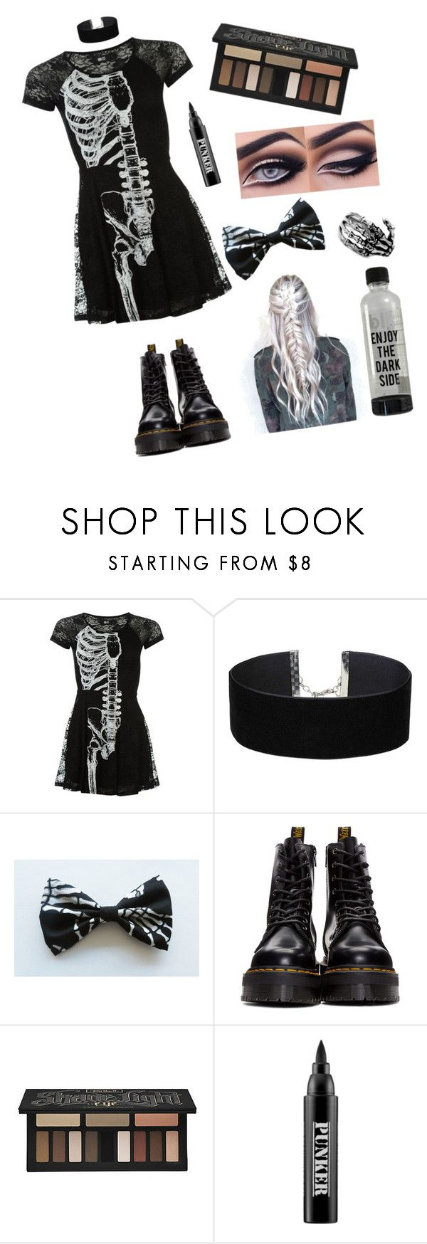 """~ I'm gonna tear out the thread one by one from your skin 'til your bones feel embarrassed by all the attention ~"" by kaylabassoff ❤ liked on Polyvore featuring Miss Selfridge, Dr. Martens, Kat Von D and Ardency Inn"