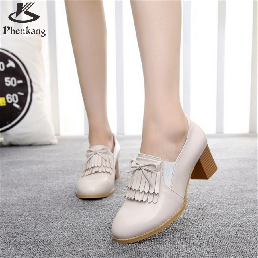 43.72$  Watch here - http://ali98q.worldwells.pw/go.php?t=32786853218 - Cow leather big woman shoes US size 9.5 designer vintage High heels round toe handmade beige pink pumps 2017 sping 43.72$
