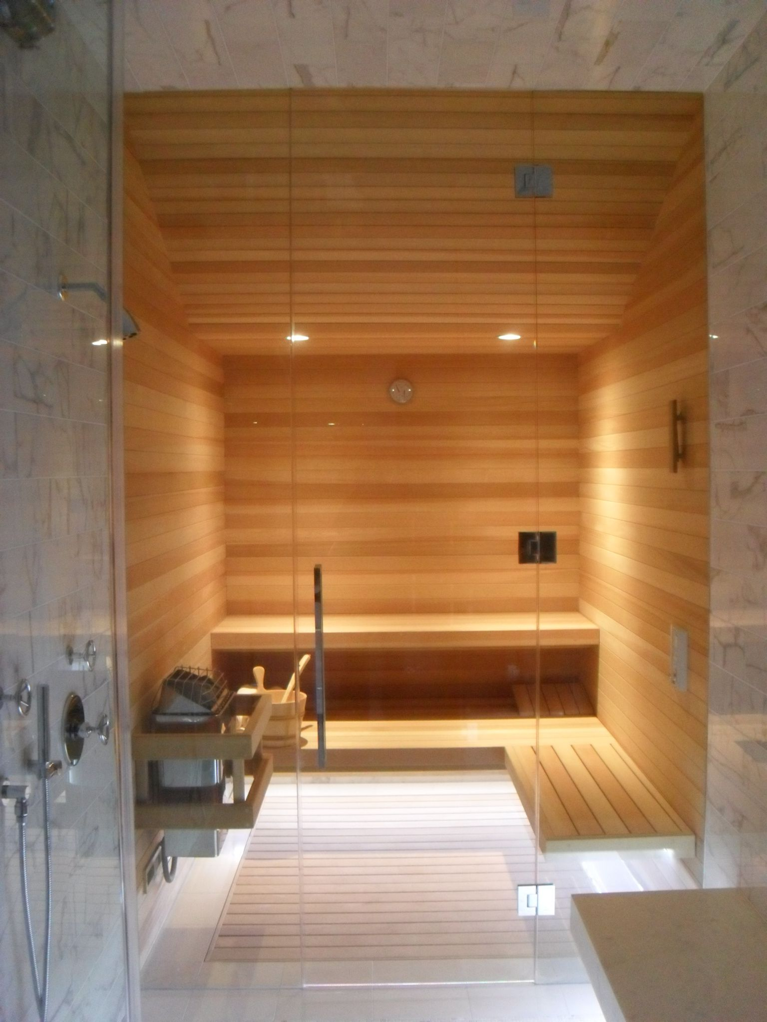 Sauna In The Home 17 Outstanding Ideas That Everyone Need: FAS Built Glass Wall Sauna With View Through Steam Room