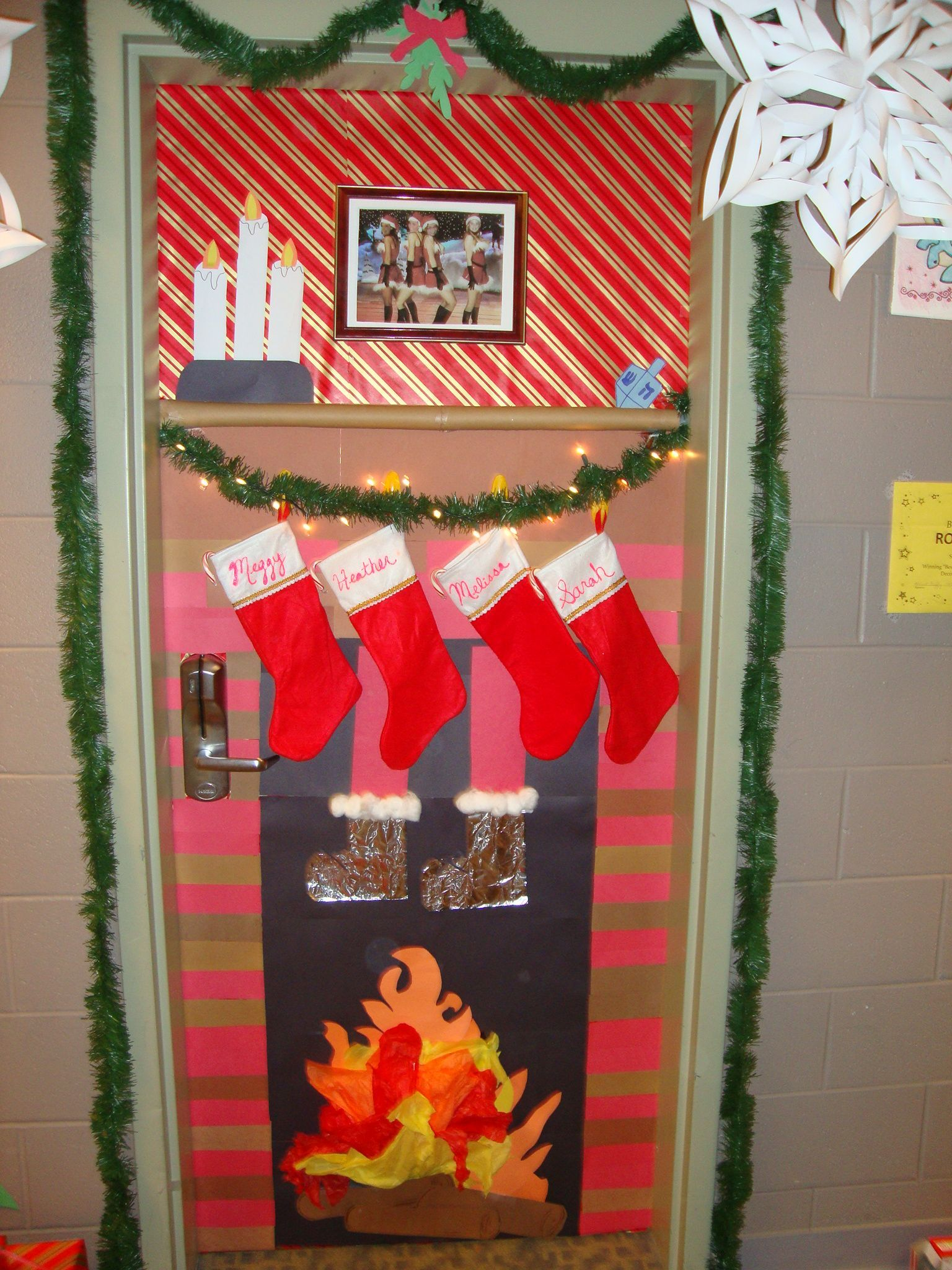 Christmas Door Decorating Contest Winner My Roommates And I Did #christmasdoordecorationsforwork