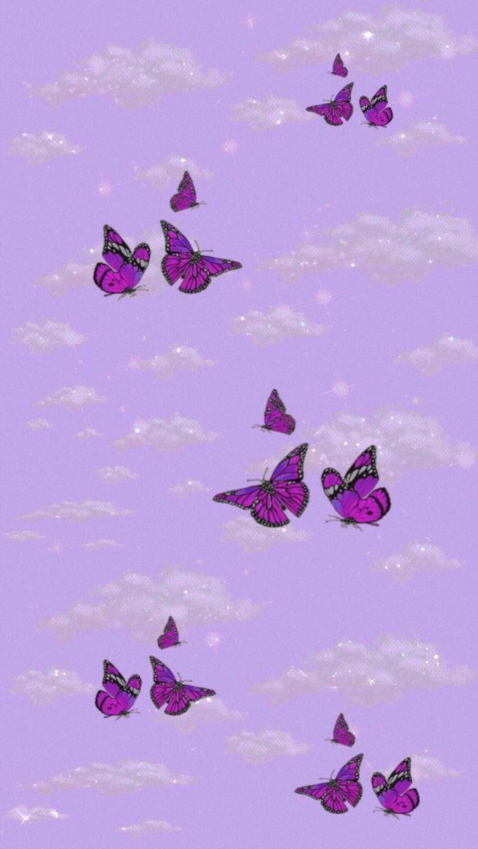 Purple Butterfly Wallpaper Aesthetic : purple, butterfly, wallpaper, aesthetic, Glittery, Cloud, Purple, Butterfly, Wallpaper, Wallpaper,, Iphone