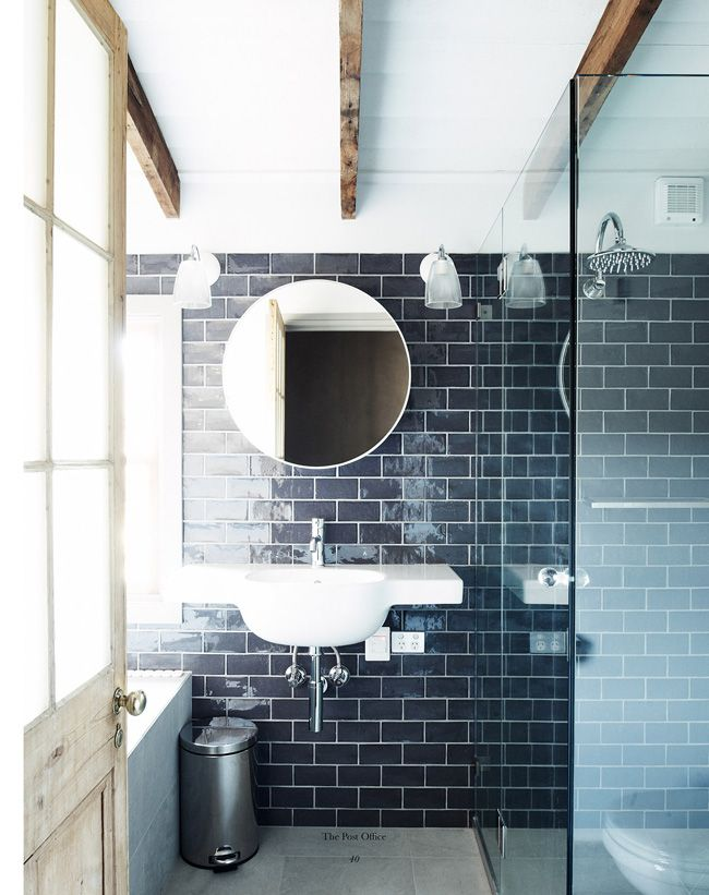 Handsome Rustic Bathroom Mit Bildern Dunkelblaues Badezimmer