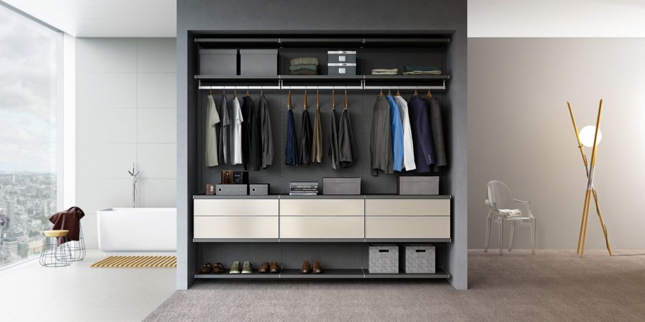 Chic Gentlemanu0027s Reach In Closet System, Charcoal Gray | California Closets