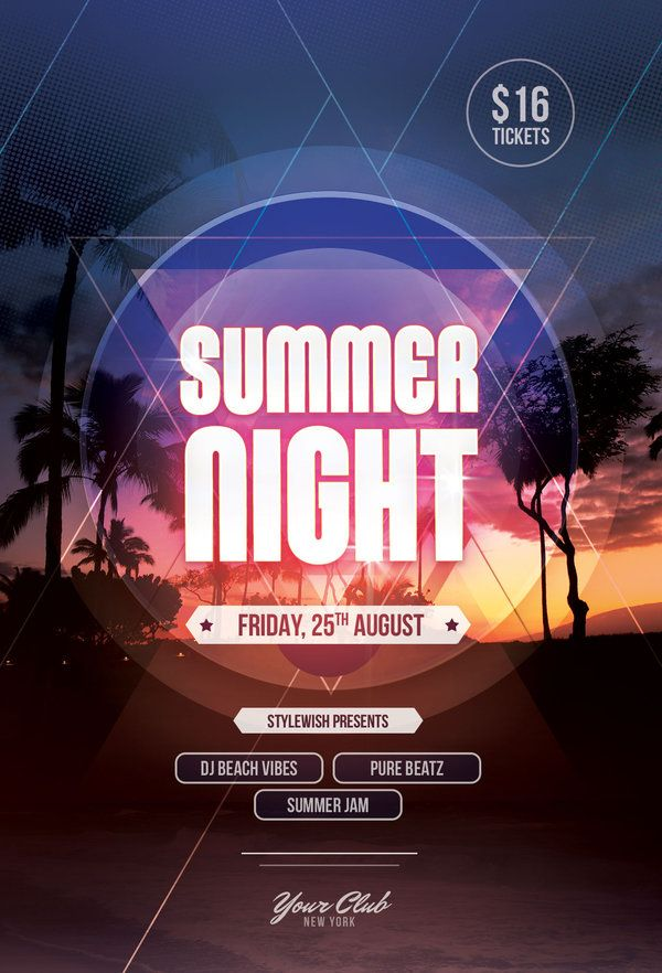 Summer Night Flyer By StyleWish (Buy PSD File   $9) #design #poster