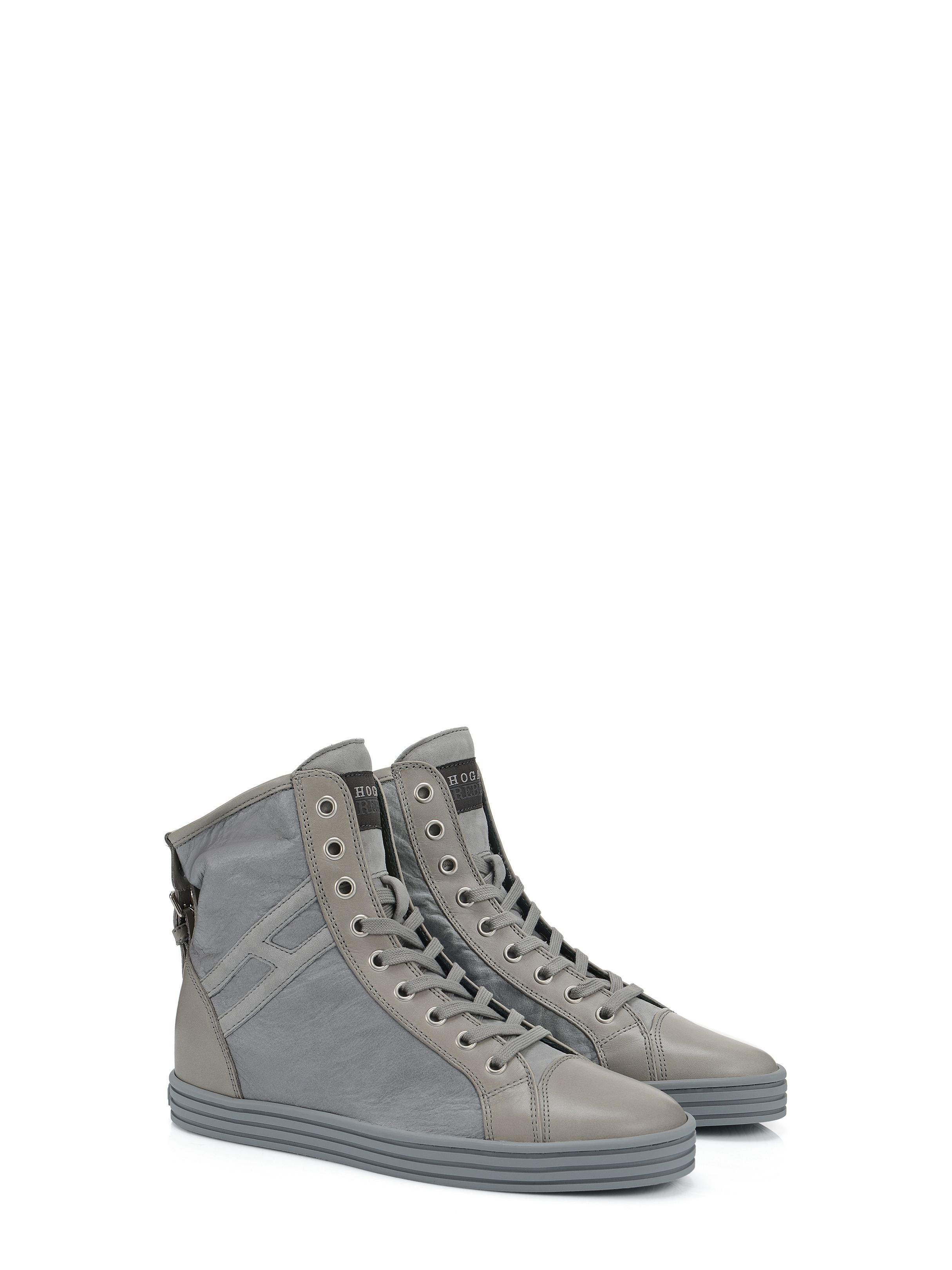 3b82ca949d4 Hogan Rebel - R182 - HXW1820D6614RGB606 - Leather high-top sneakers with suede  Hogan monogram on the side