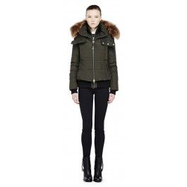 ROMANE SHORT ARMY BOMBER DOWN JACKET WITH FUR TRIM ON HOOD|Romane by Mackage is a short down coat for women with a removable hood.