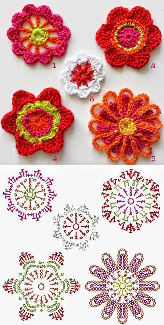 Todo crochet: Flores para decoración tejidas al crochet | flores ...