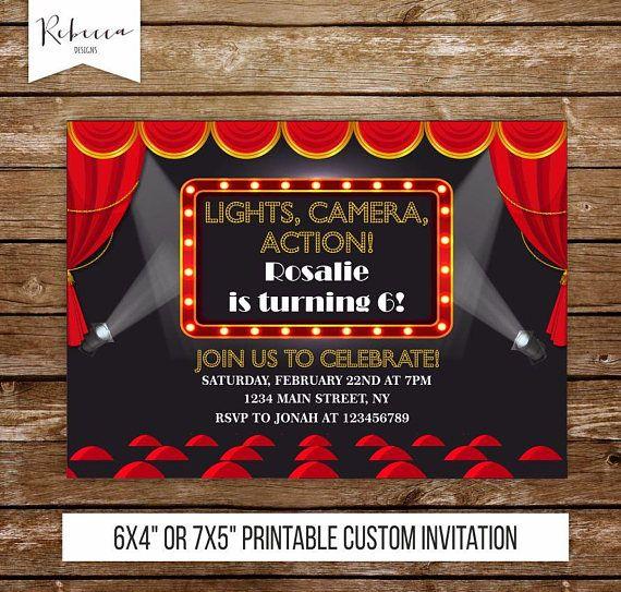 Movie night invitation movie birthday invitation cinema invitation - movie ticket invitations printable free