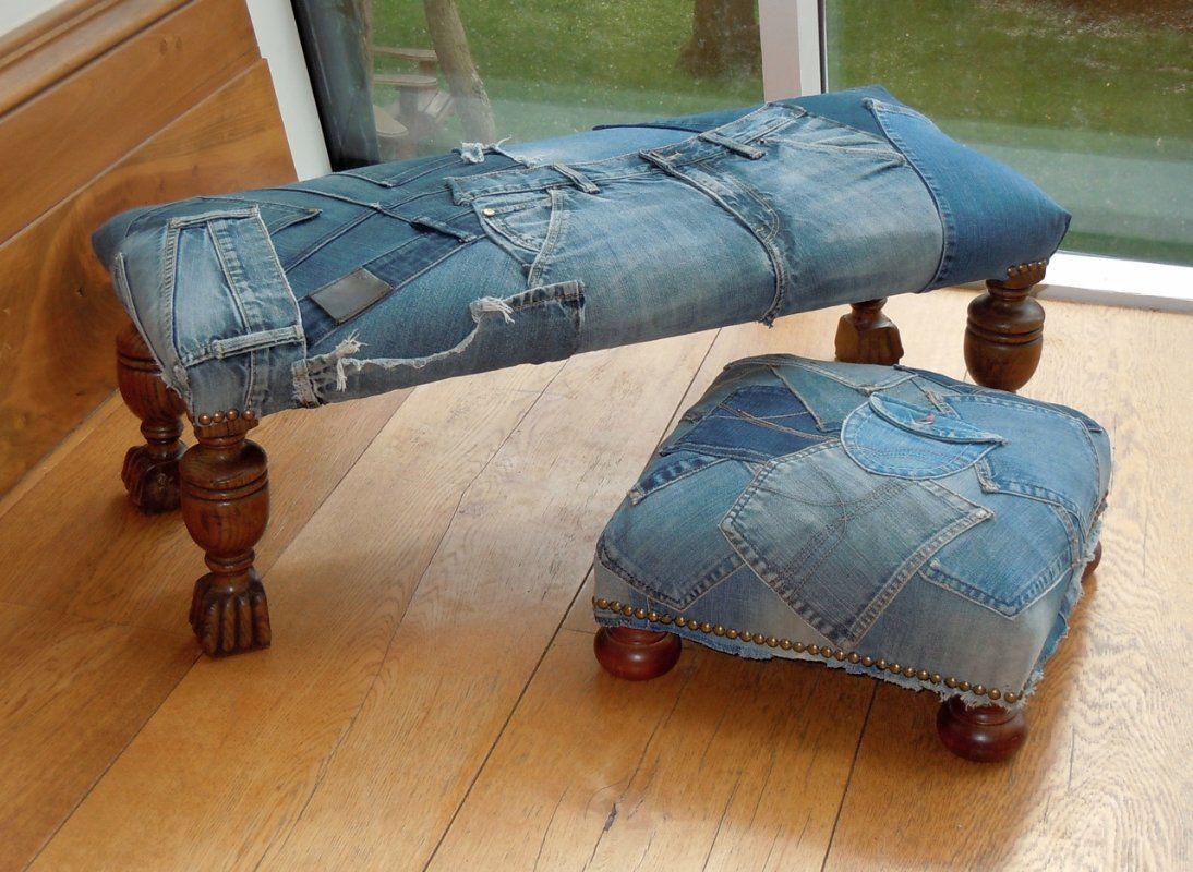 Merveilleux Denim Patchwork Footstool Denim Furniture, Recycled Furniture, Furniture  Design, Denim Sofa, Denim