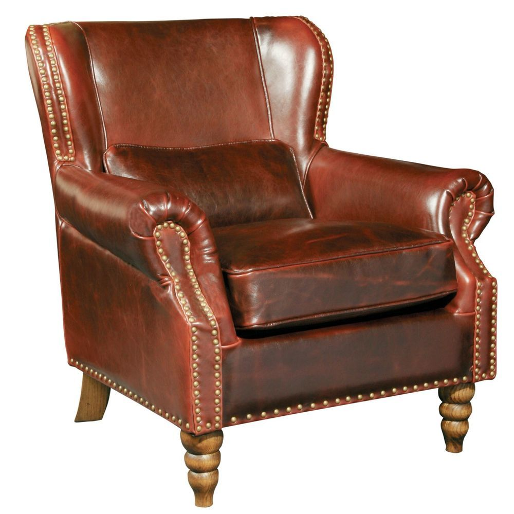 Details About Living Room Furniture Tall Wingback Brown Genuine Leather  Club Chair,35.5u0027u0027H