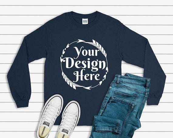 Download Free Gildan 2400 Long Sleeve Navy Unisex T Shirt Tee Psd Free Psd Mockups Clothing Mockup Shirt Mockup Free Packaging Mockup