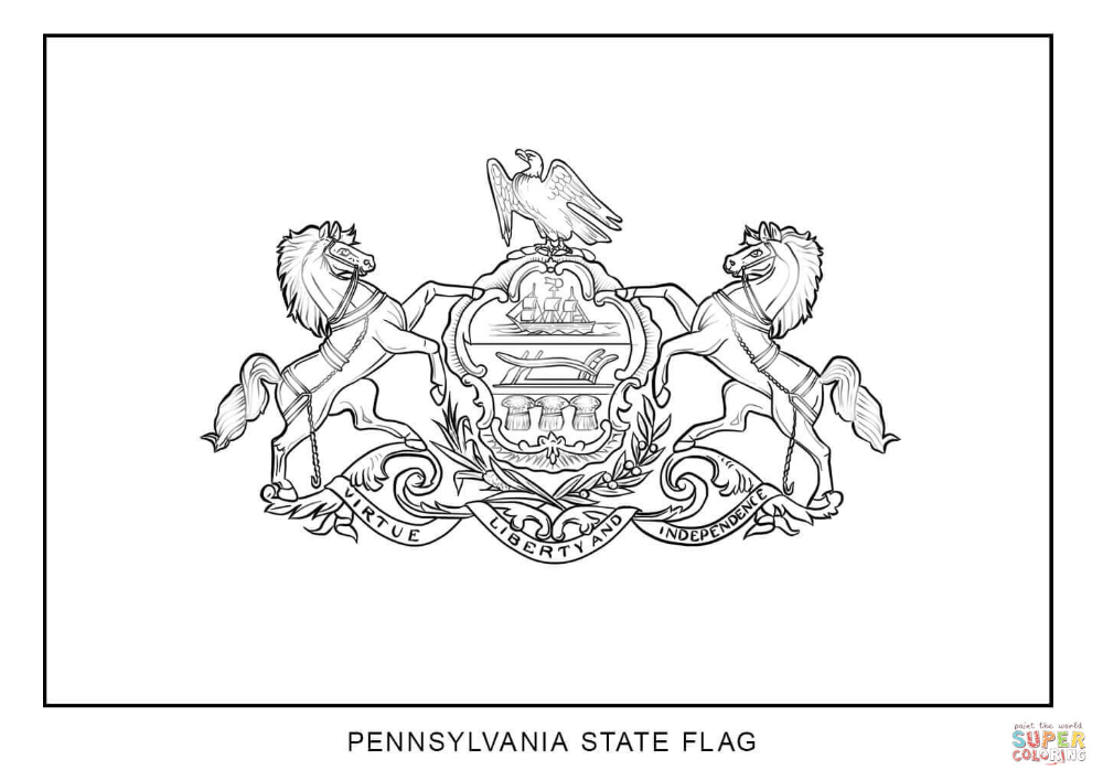 Flag Of Pennsylvania Coloring Page Free Printable Coloring Pages Cartoon Coloring Pages Flag Coloring Pages American Flag Coloring Page