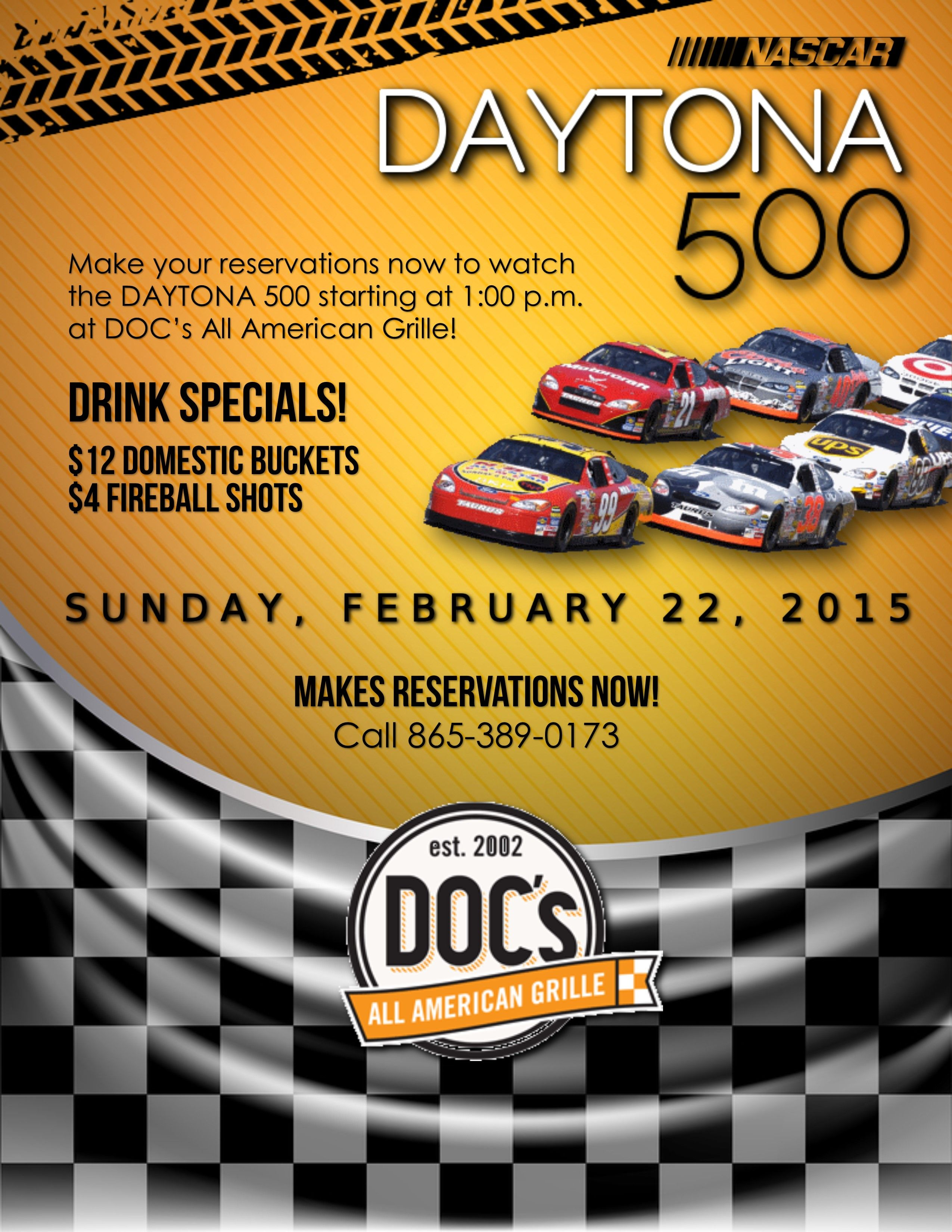 Daytona 500 flyer for DOC s All American Grille