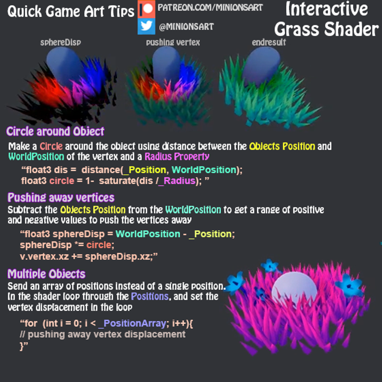Quick Game Art Tips - Interactive Grass Shader | Tutorials